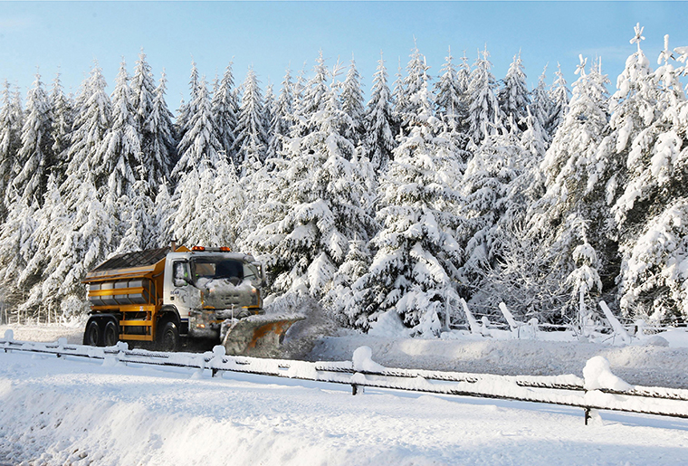 Image of Ringway gritter with winter trees scene